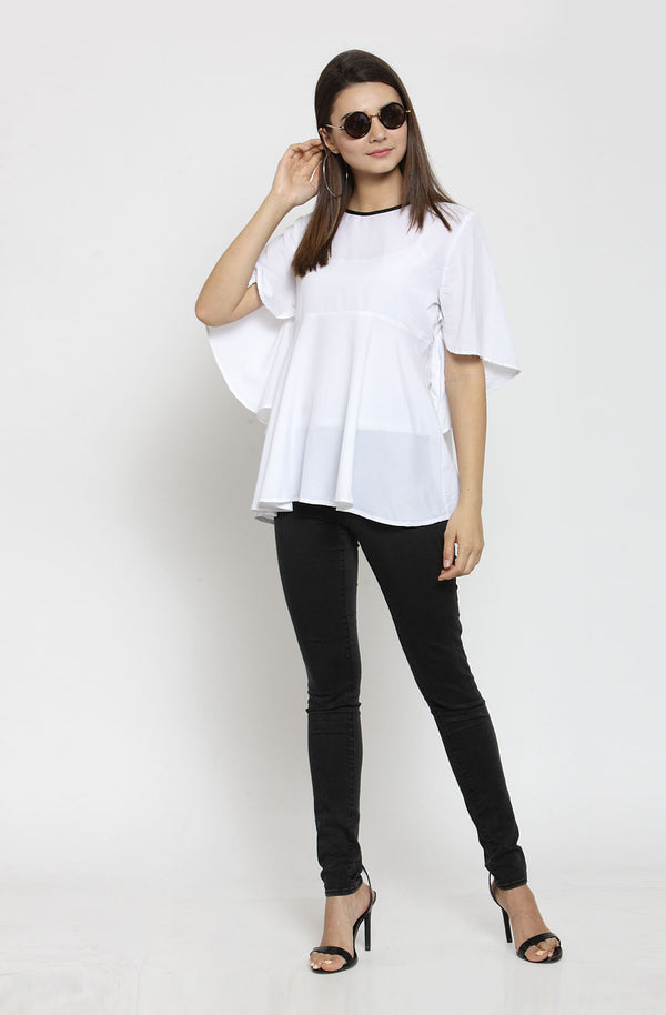 White Solid Round Neck Flared Top by Afamado