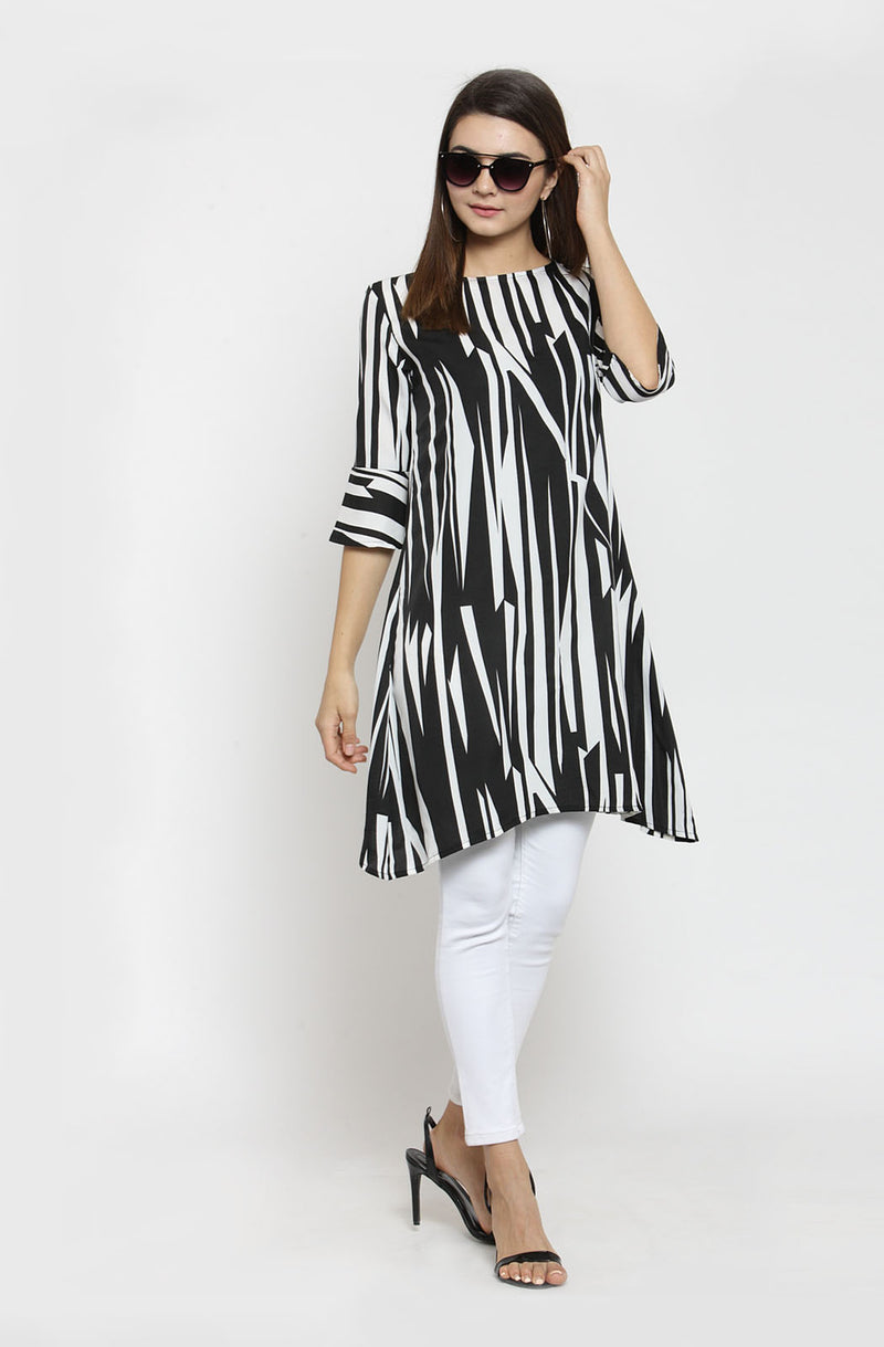 Striped Boat Neck Tunic by Afamado