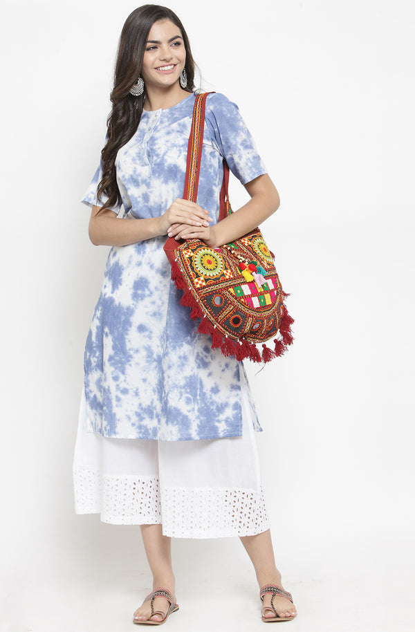 Tie & Dye Kurta with White Culottes