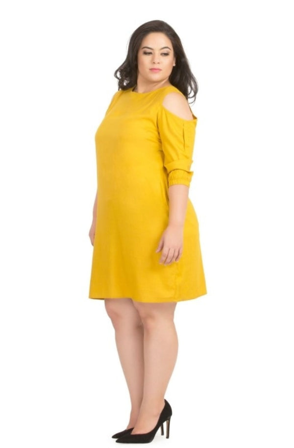 Yellow Cold-Shoulder A-Line Dress