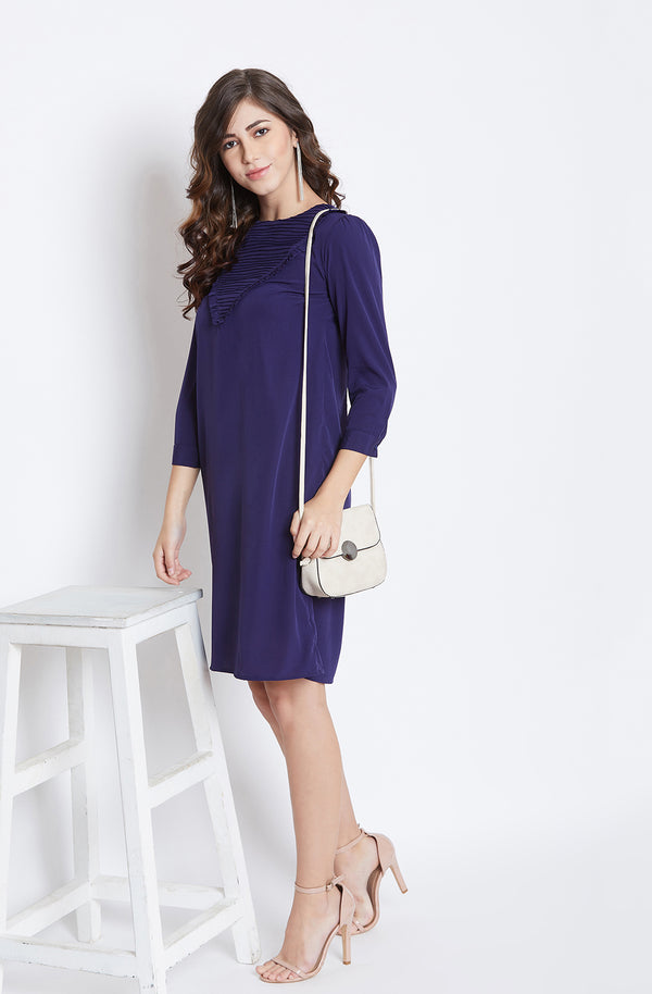 Navy Straight-Fit Frill Detailed Dress