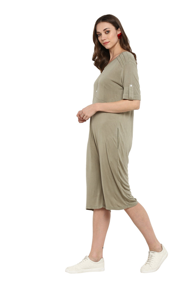 Knee-Length Button Placket Cotton Jumpsuit
