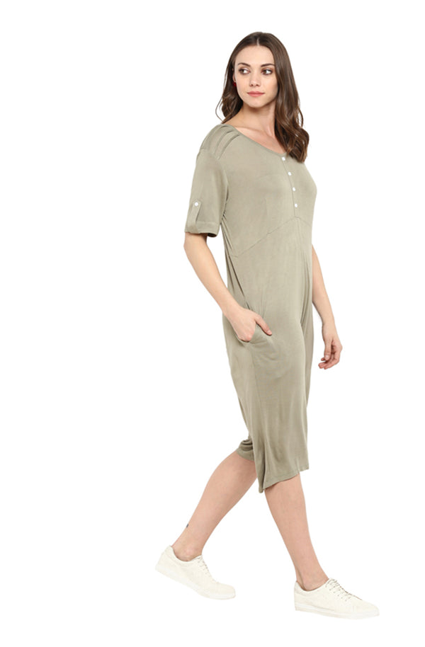 Knee-Length Button Placket Cotton Jumpsuit by Afamado