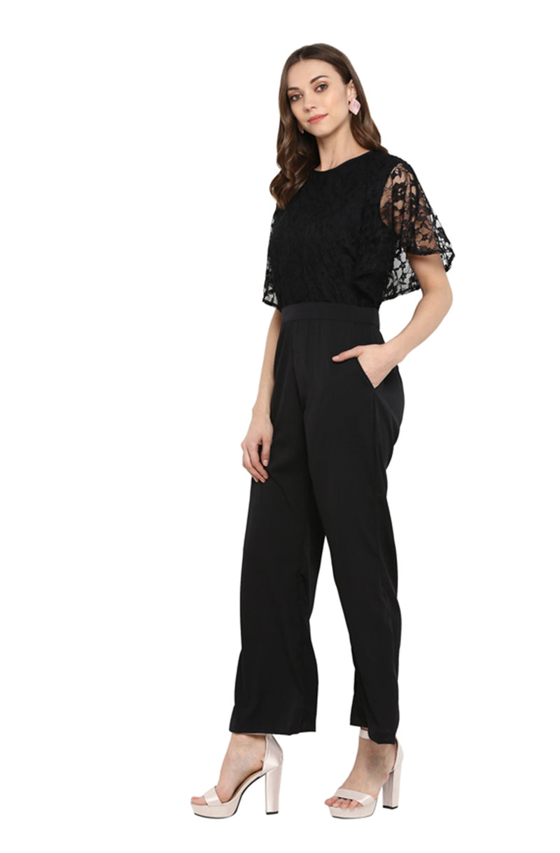 Black Jumpsuit with Lace Bell Sleeves by Afamado