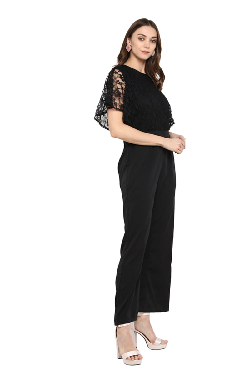 Black Jumpsuit with Lace Bell Sleeves