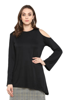 Black Cold-Shoulder Party Top by Afamado