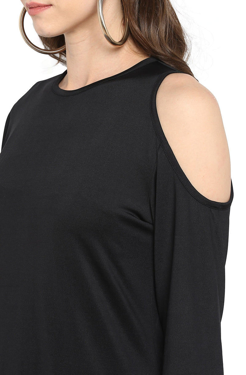 Black Cold-Shoulder Party Top