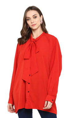 Over-sized Red Shirt with Tie Neck  by Afamado