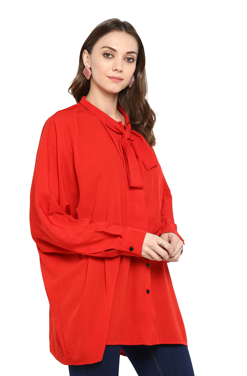 Over-sized Red Shirt with Tie Neck