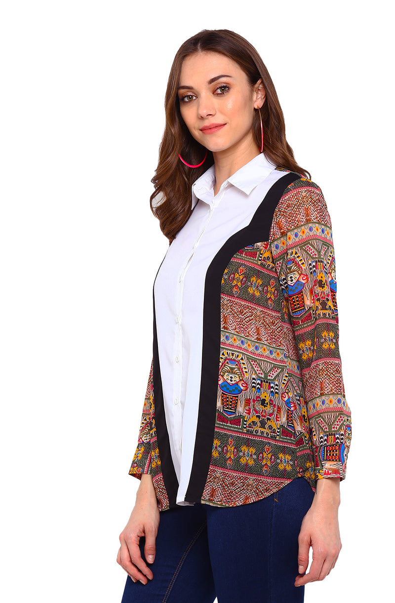 Tribal Print Side Panel Shirt
