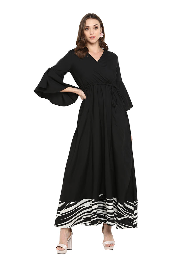 Formal Maxi Dress with Contrast Hemline