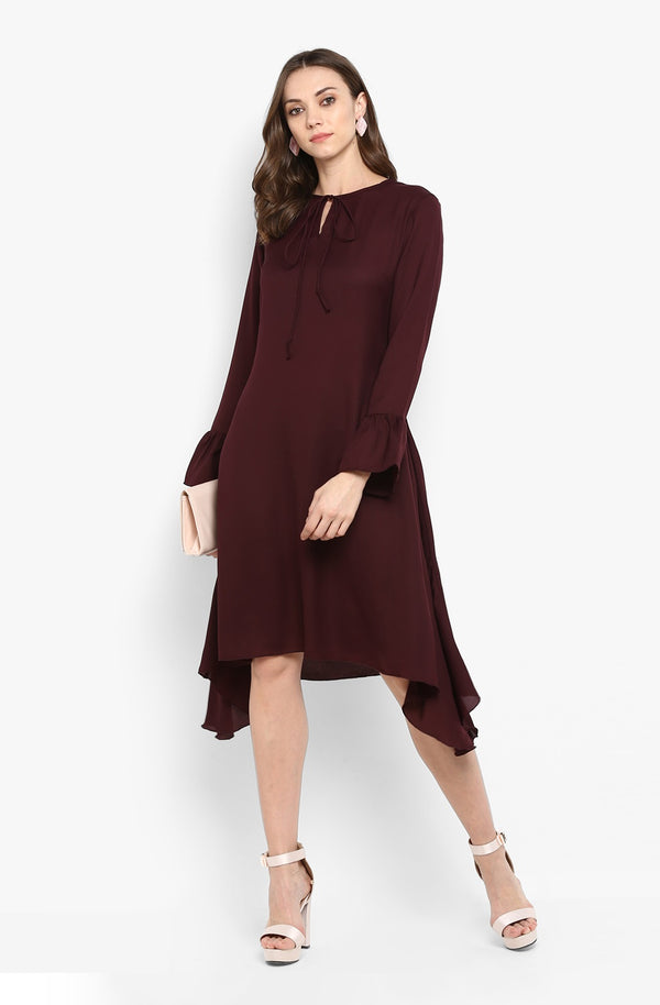 Casual Solid Asymmetric Dress