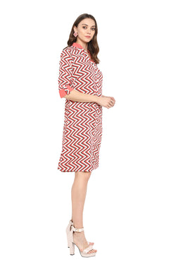 Afamado Zigzag Striped Shirt Dress by Afamado