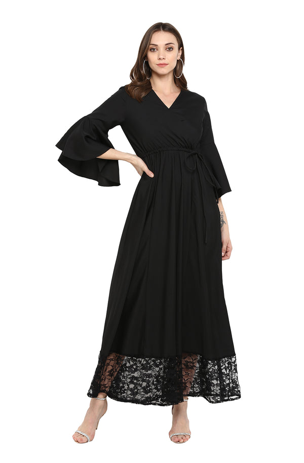 Maxi Dress with Lace Hemline by Afamado