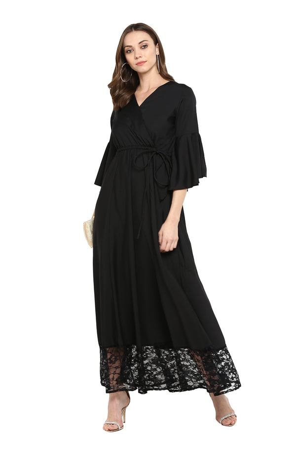 Maxi Dress with Lace Hemline