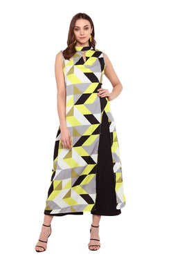 Geometric Print Side-Slit Kurti by Afamado