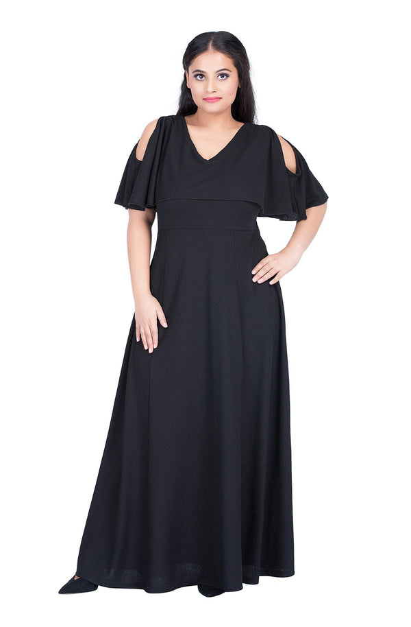 V-Neck Cold-Shoulder Gown by Afamado
