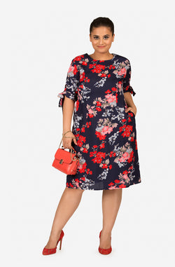 Floral Print Tie-Sleeve Dress by Afamado