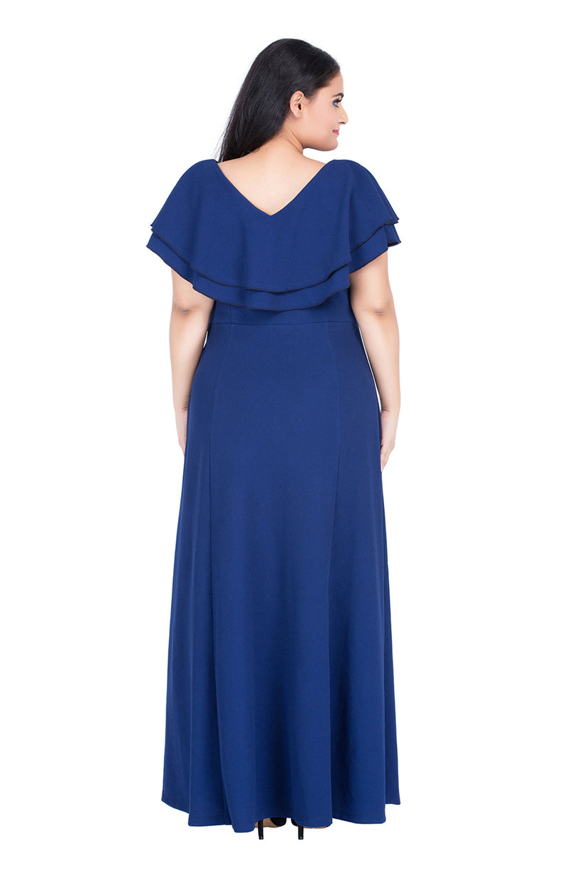 Blue Double-Layered Party Maxi Dress