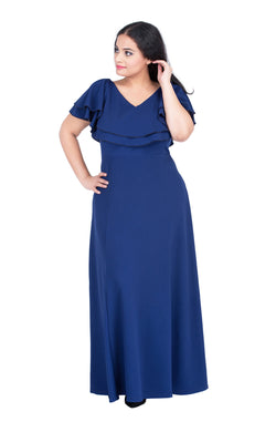 Blue Double-Layered Party Maxi Dress by Afamado
