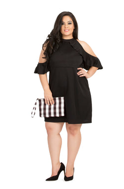Black Ruffle Party Dress  by Afamado