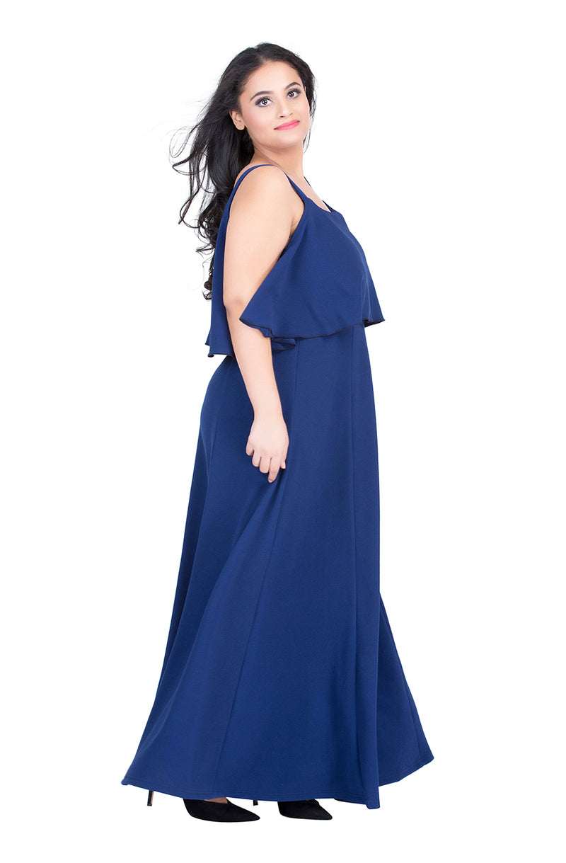 Royal Blue Layered Party Gown