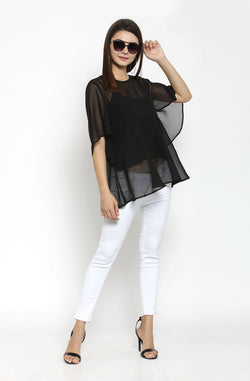 Black Flared Top by Afamado