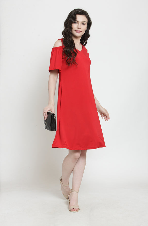 Red Cold-Shoulder Dress by Afamado