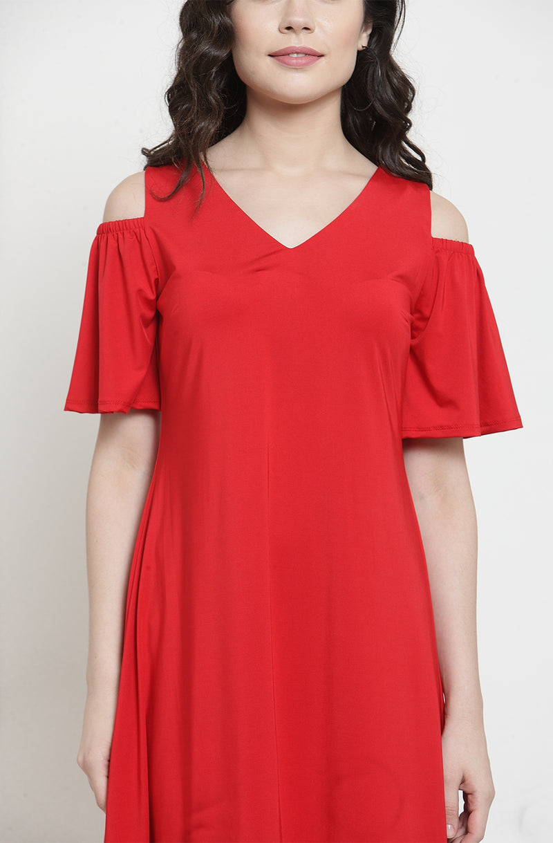 Red Cold-Shoulder Dress
