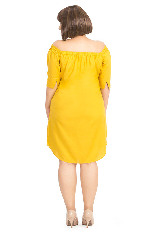 Yellow Off-Shoulder Straight-Fit Dress