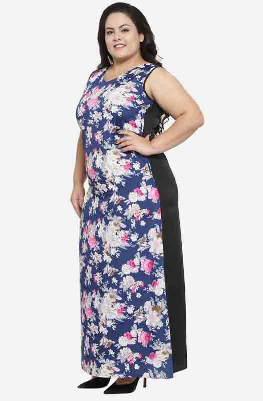 Formal Floral Sleeveless Maxi Dress