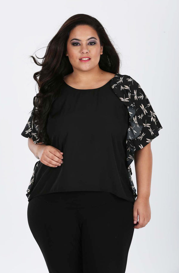Black Polyester Ruffled Top by Afamado