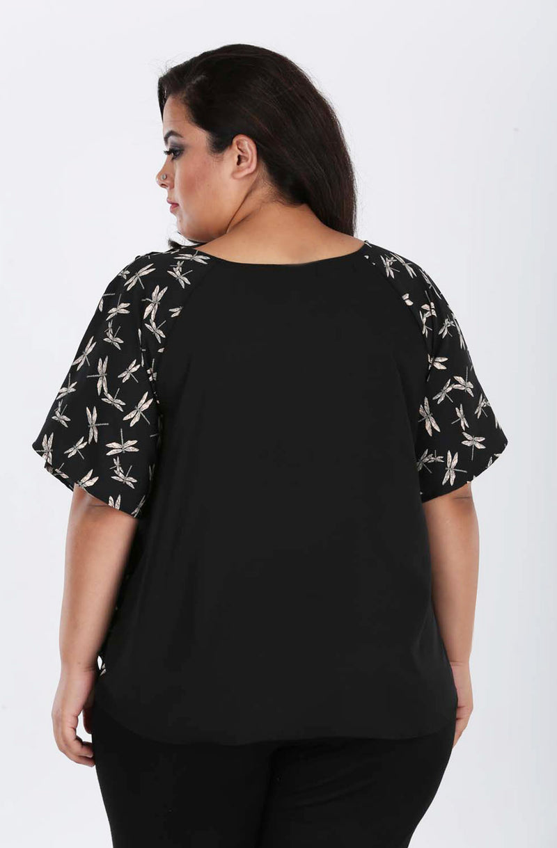 Black Polyester Ruffled Top