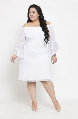 Casual White Off-Shoulder Dress with Angel Sleeves by Afamado