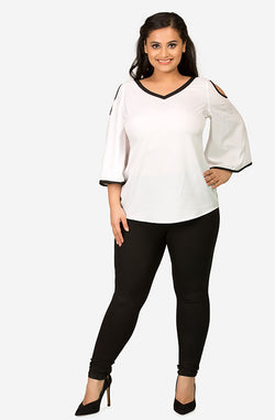 Monochrome Casual Cold-Shoulder Top by Afamado