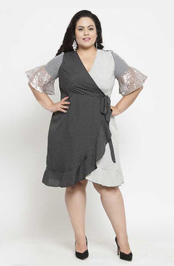 Monochrome Wrap-On Asymmetrical Party Dress by Afamado