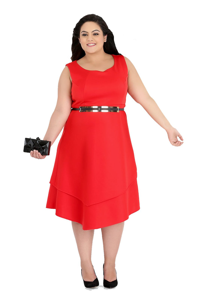 Fit and Flare Red Dress by Afamado