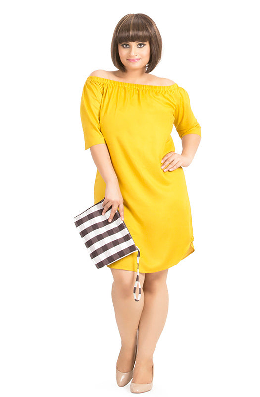 Yellow Off-Shoulder Straight-Fit Dress by Afamado