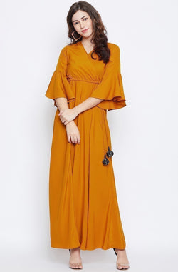 Overlap Neck Maxi Dress With Tassle