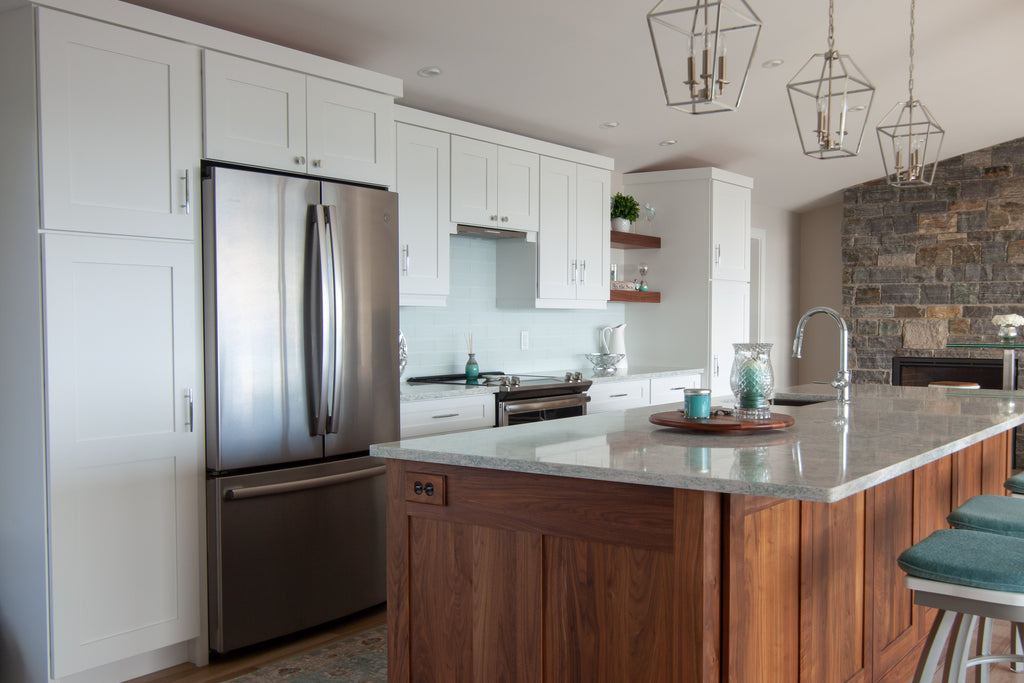 white shaker wall medallion wall cabinetry plain and fancy custom walnut kitchen island
