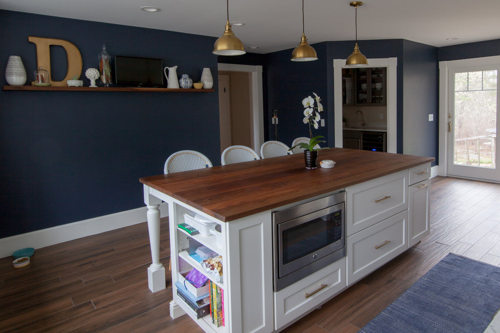 kitchen design island wood countertop medallion