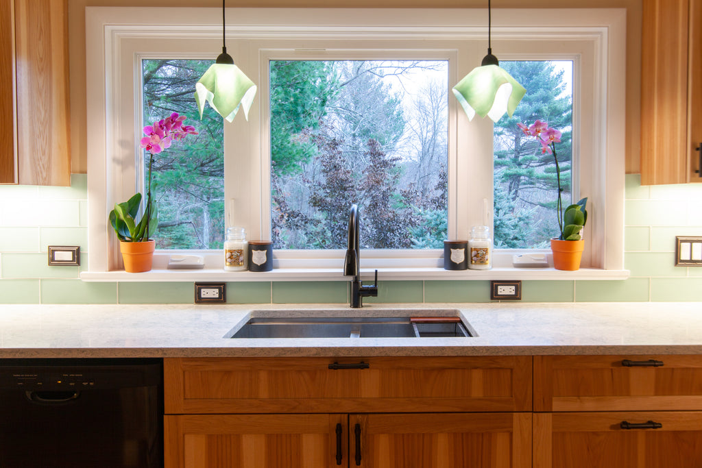kitchen sink pendant lighting window design craft cabinetry