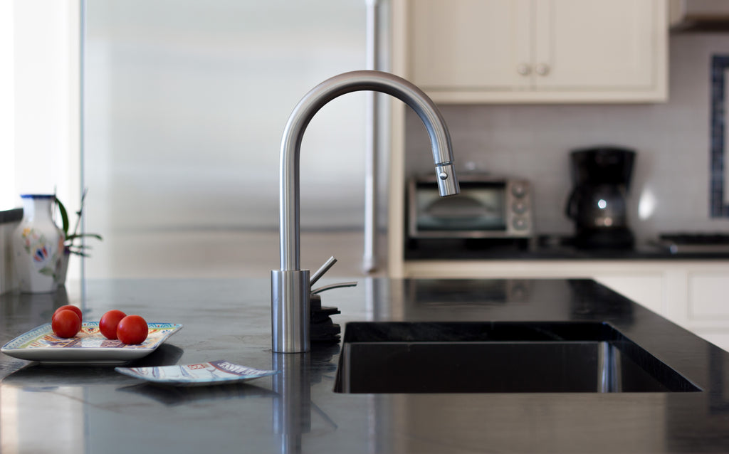 kitchen faucet soapstone counter