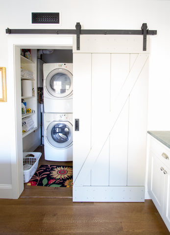 barn door hardware open laundry sunflower rug