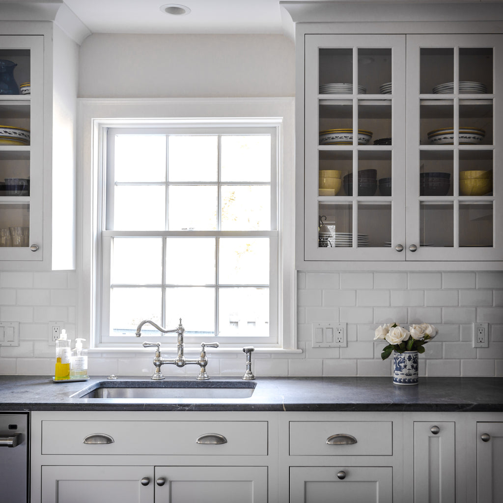 Plain & Fancy Cabinetry White w/ Chrome Hardware