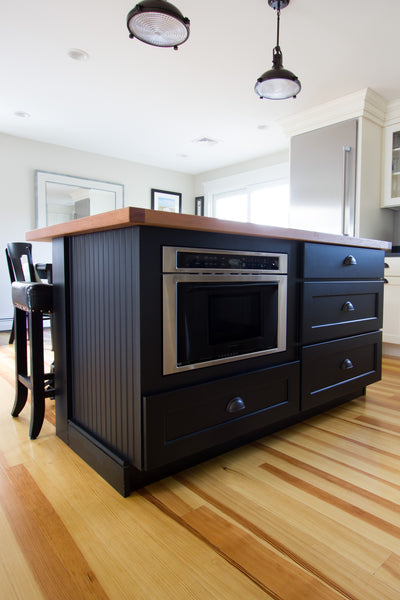 black island butcher block kitchen cabinetry contrast