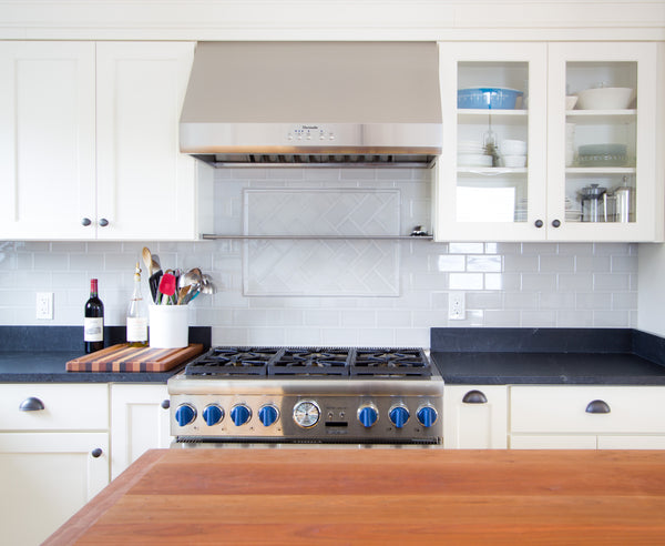 butcher block island contrast kitchen white island