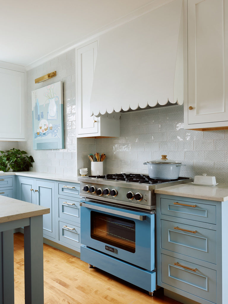 Blue Stove Medallion Custom Color Kitchen Cabinetry