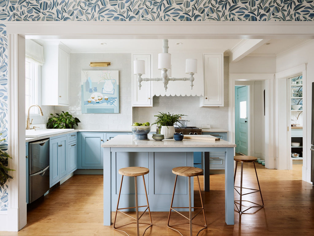 HGTV Farmhouse Fixer Kitchen with Medallion Cabinetry Periwinkle Custom Color