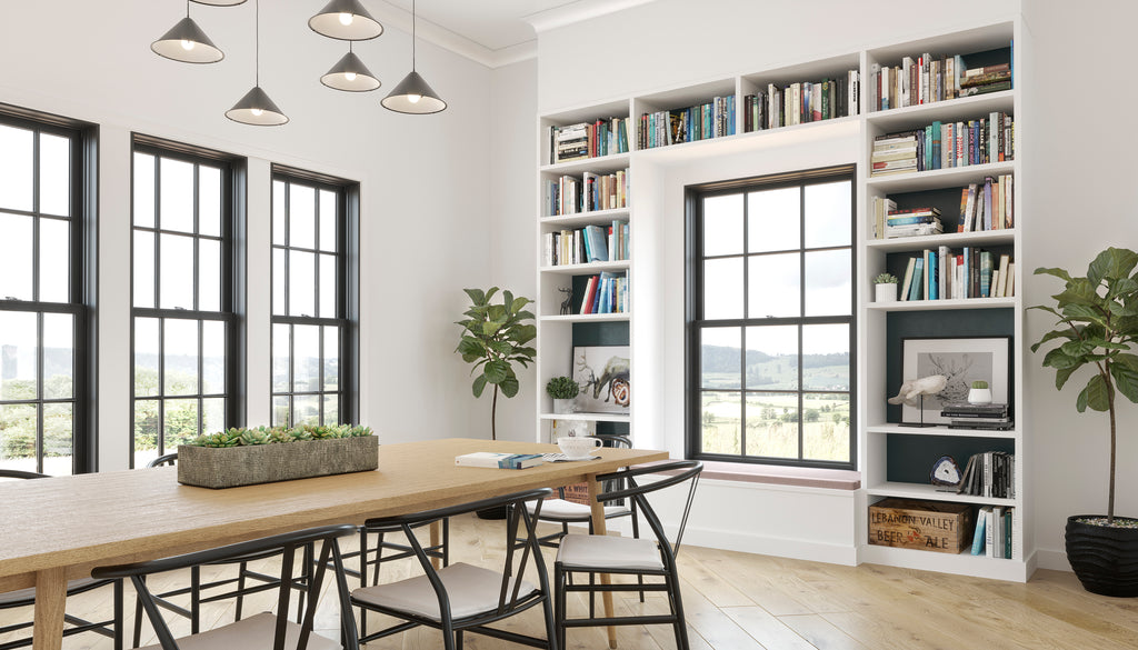 marvin windows black home library